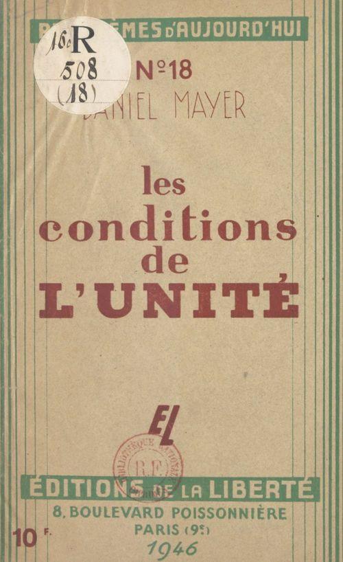 Vente EBooks : Les conditions de l'unité  - Robert Verdier  - Daniel Mayer
