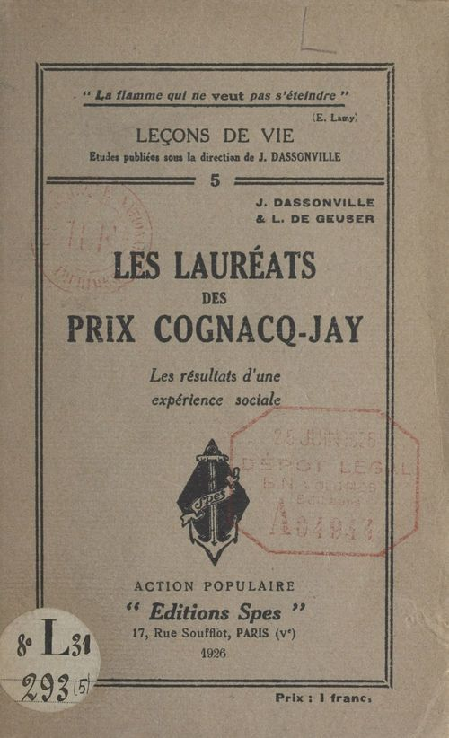 Les lauréats des prix Cognacq-Jay
