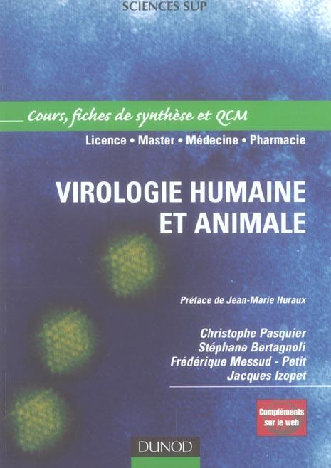 Virologie Humaine Et Animale - Cours,  Fiches De Synthese Et Qcm - Livre+Complements En Ligne