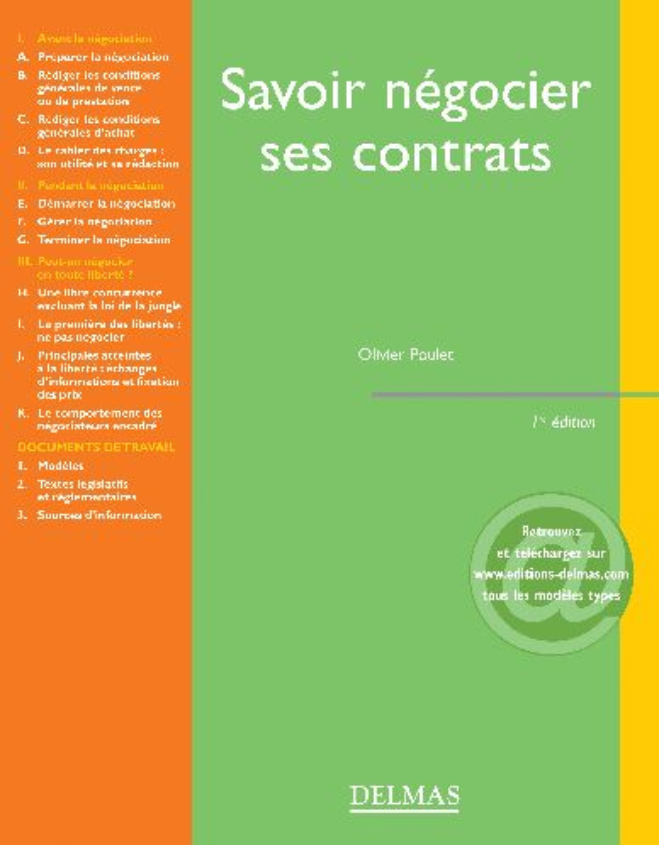 Savoir Negocier Ses Contrats - 1ere Ed.