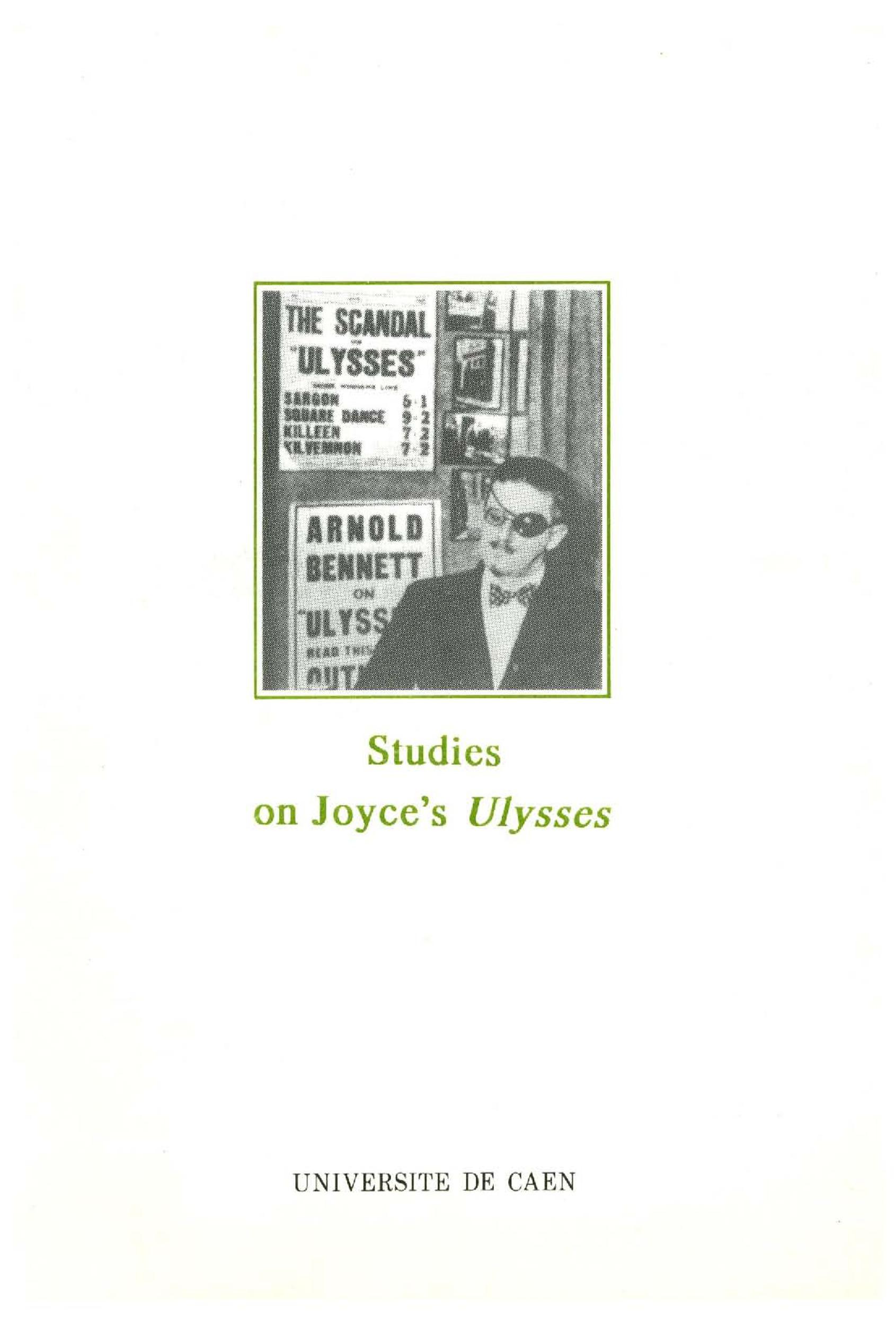 Studies on joyce' s ulysses