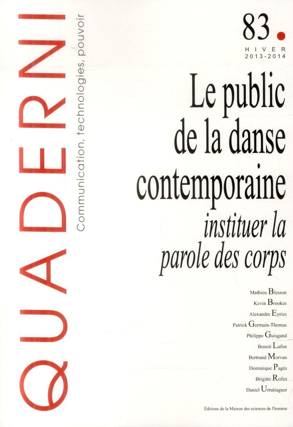QUADERNI ; le public de la danse contemporaine