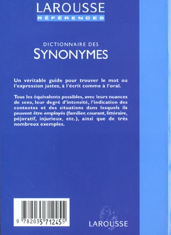 Dictionnaire des synonymes ; edition 2002