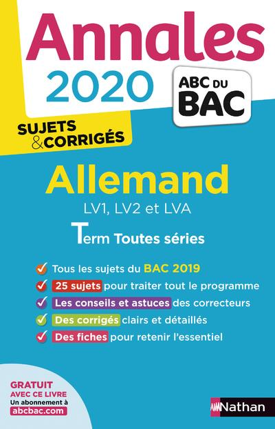Annales ABC du bac ; sujets non corrigés T.12 ; allemand ; terminale toutes séries (édition 2020)
