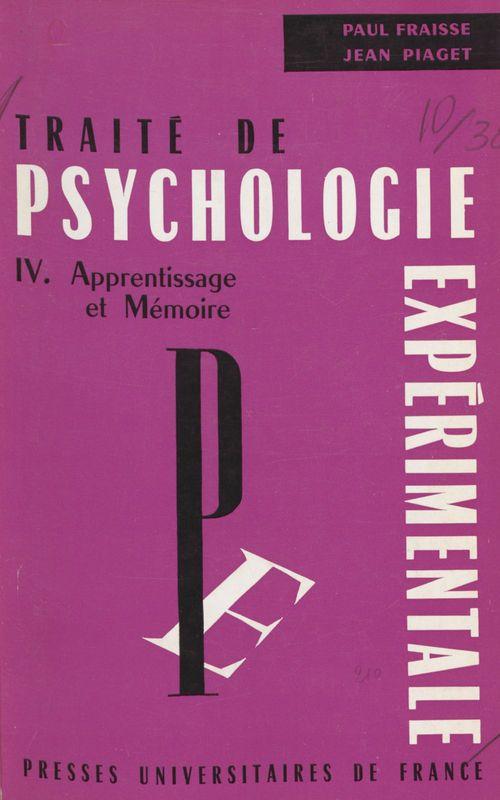 Traité de psychologie expérimentale (4)