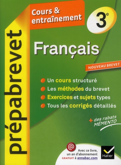 Prepabrevet Cours Et Entrainement; Francais ; 3eme