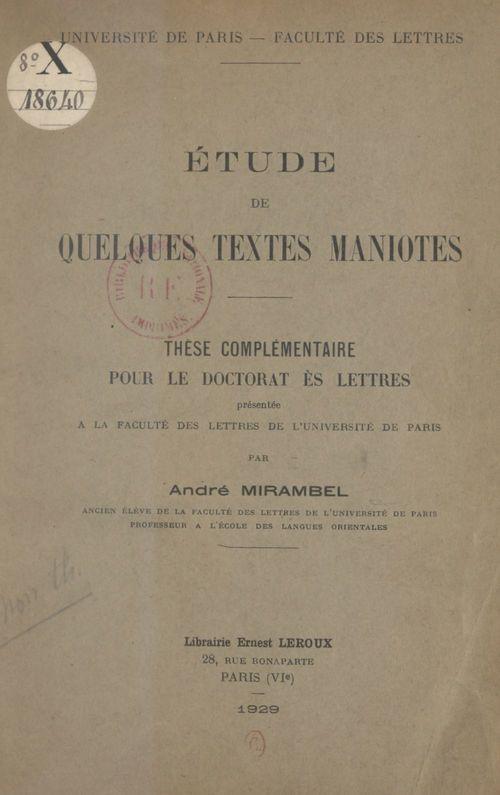 Étude de quelques textes maniotes  - Andre Mirambel