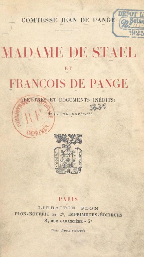 Madame de Staël et François de Pange  - Pauline de Pange