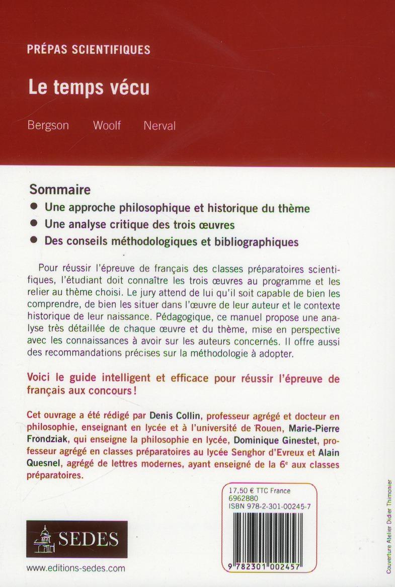 le temps vécu ; français-philosophie ; prépas scientifiques ; question 2013/2014