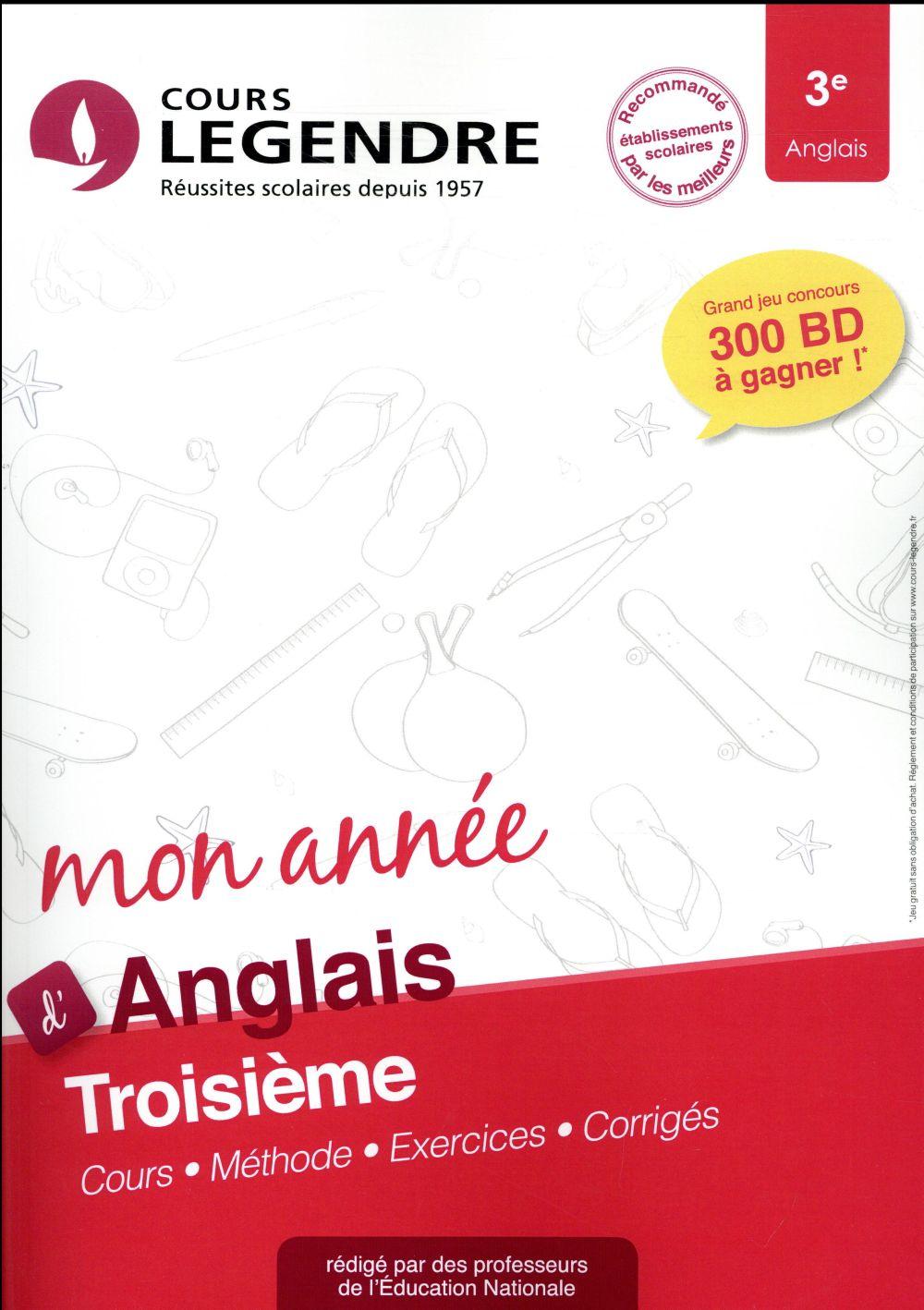 Cours Legendre ; anglais ; 3e mon année (édition 2018)