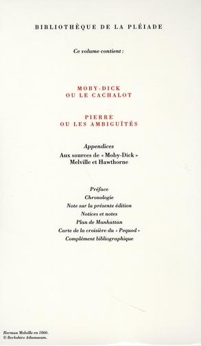 Oeuvres t.3 ; Moby Dick ; Pierre ou les ambiguïtés