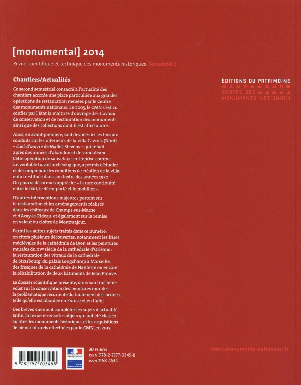 MONUMENTAL n.2014/2 ; les chantiers de restauration du CMN