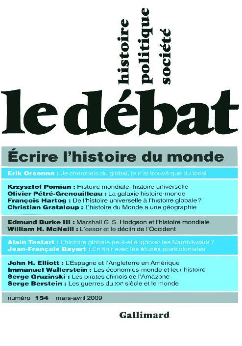 Revue le debat ; ecrire l'histoire du monde