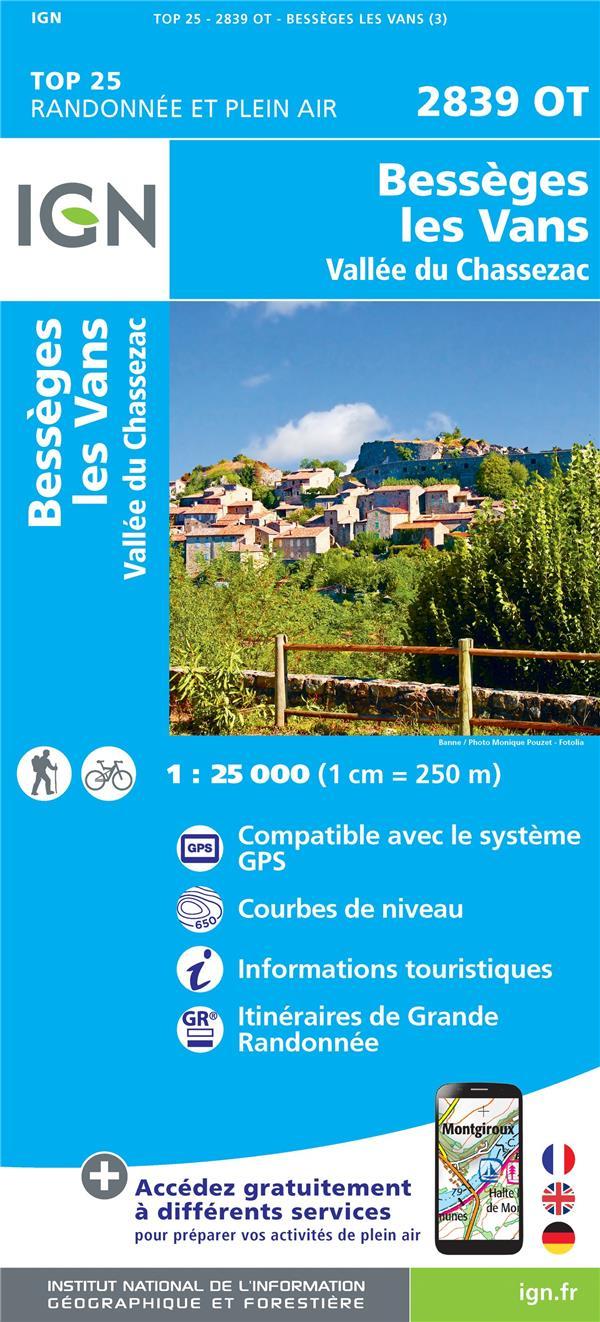 2839OT ; Bessèges les Vans, Vallée de Chassezac (3e édition)