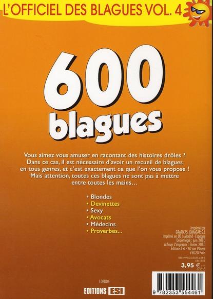 L'officiel des blagues t.4 ; 600 blagues
