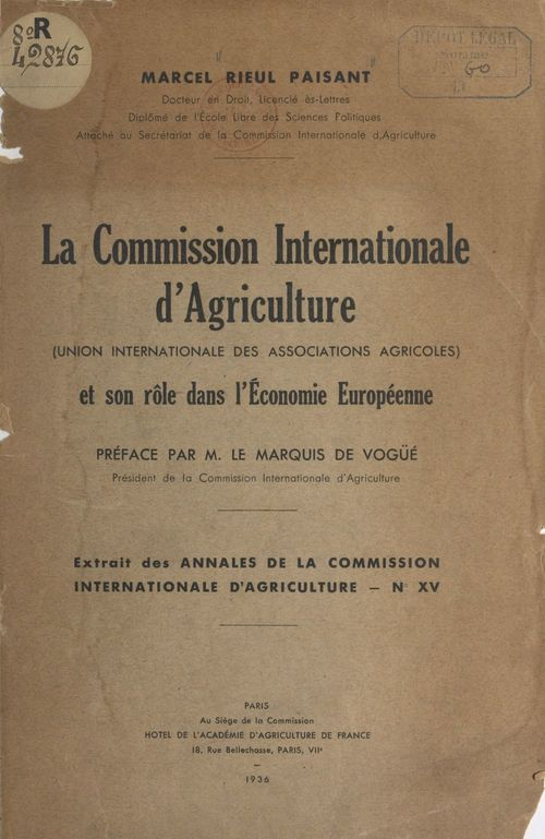 La Commission internationale d'agriculture (Union internationale des associations agricoles)