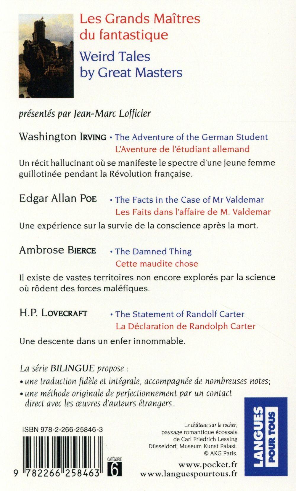 les grands maîtres du fantastique ; weird tales by great masters