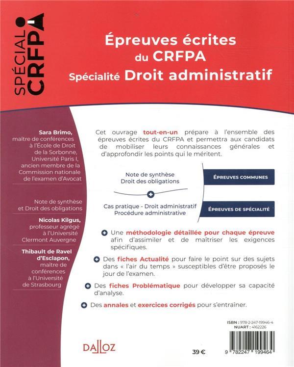 épreuves écrites du CRFPA ; spécialité droit aministratif