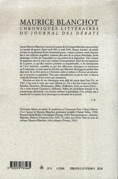 Chronique littéraire du journal des débats