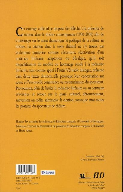La citation dans le théâtre contemporain (1970-2000)
