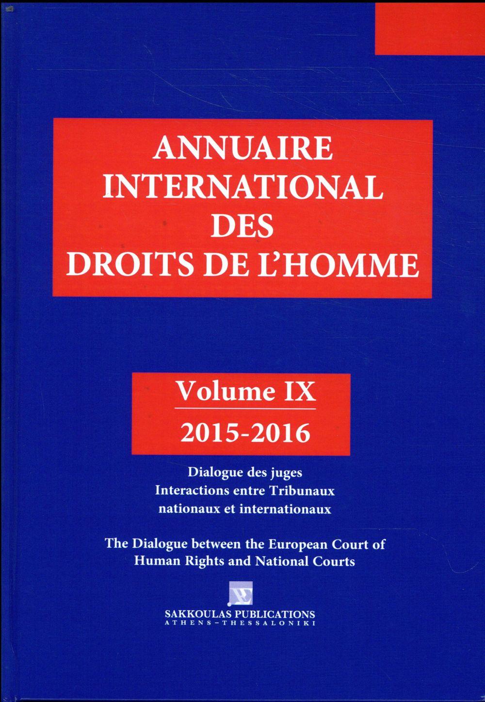 Annuaire international des droits de l'homme t.9 (édition 2015/2016)