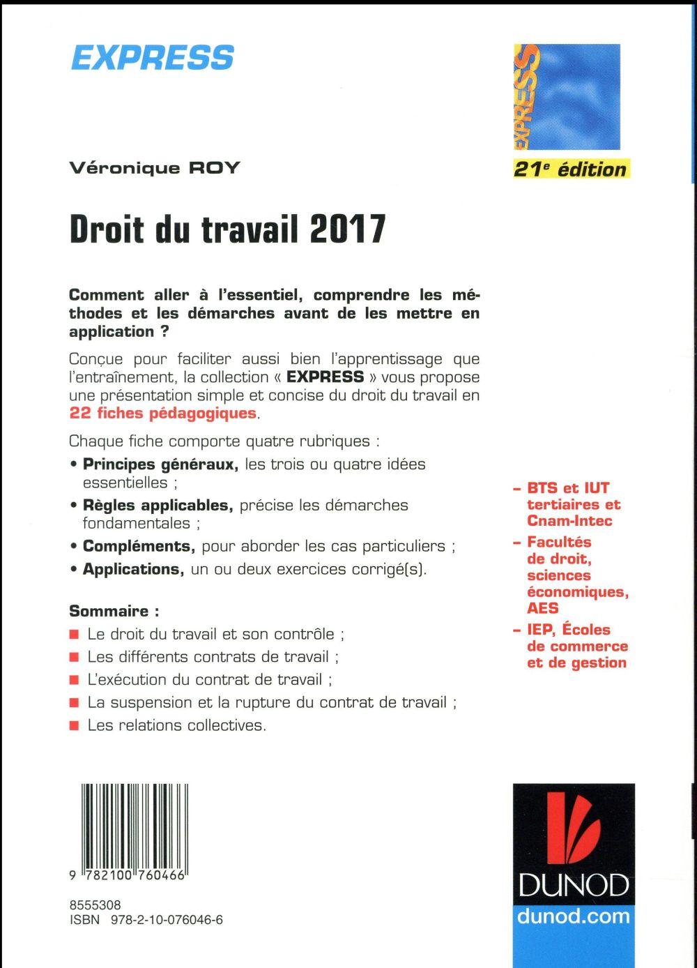droit du travail ; en 22 fiches (édition 2017)