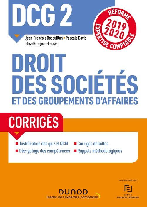 DCG 2 ; droit des sociétés et des groupements d'affaires t.1 ; droit des sociétés et des group (édition 2019/2020)