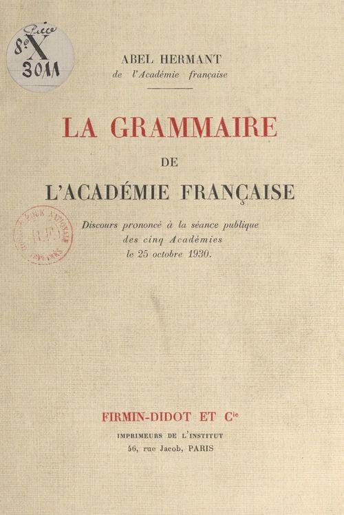 La grammaire de l'Académie française