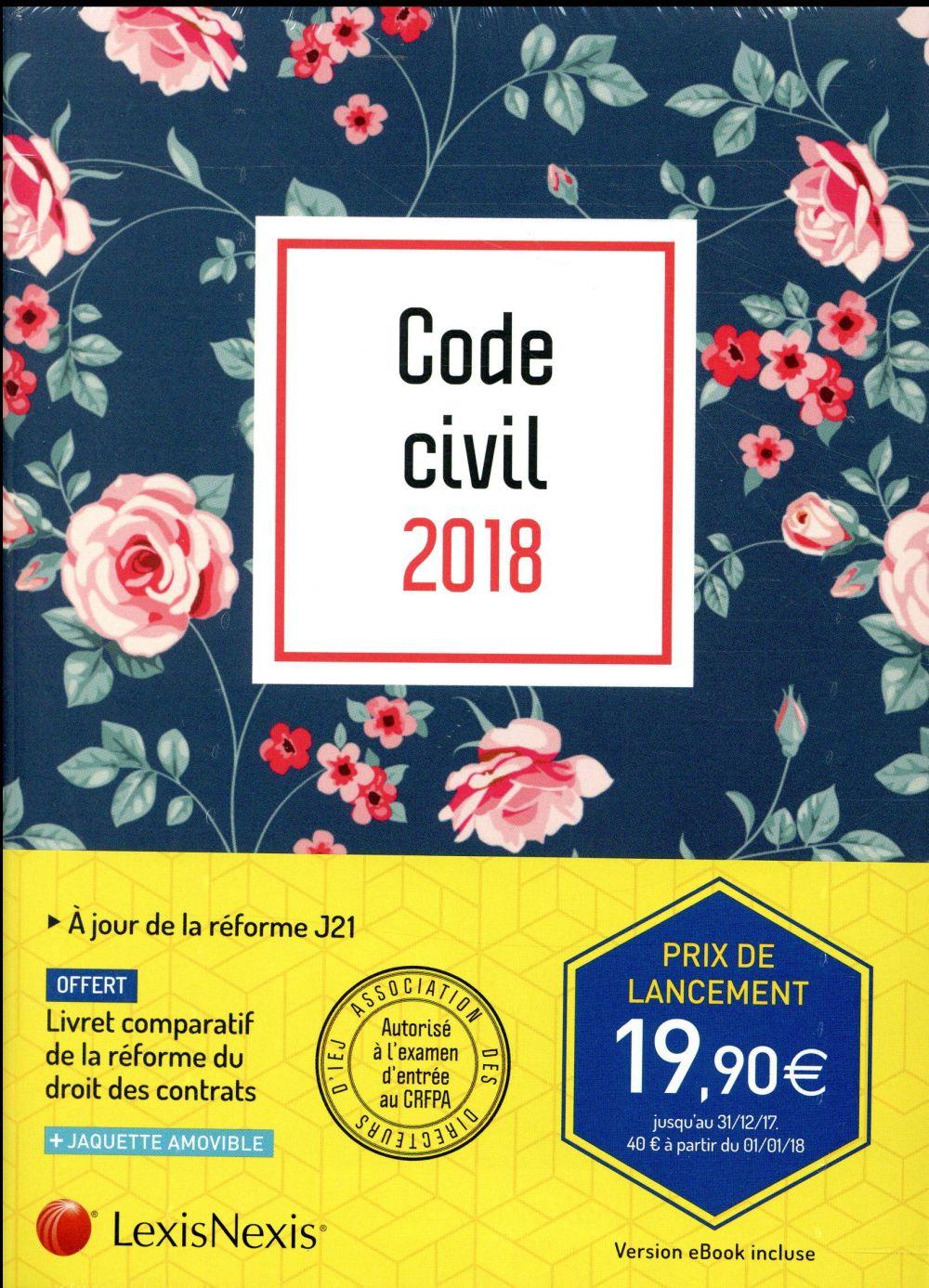 Code civil 2018 ; motif fleuri