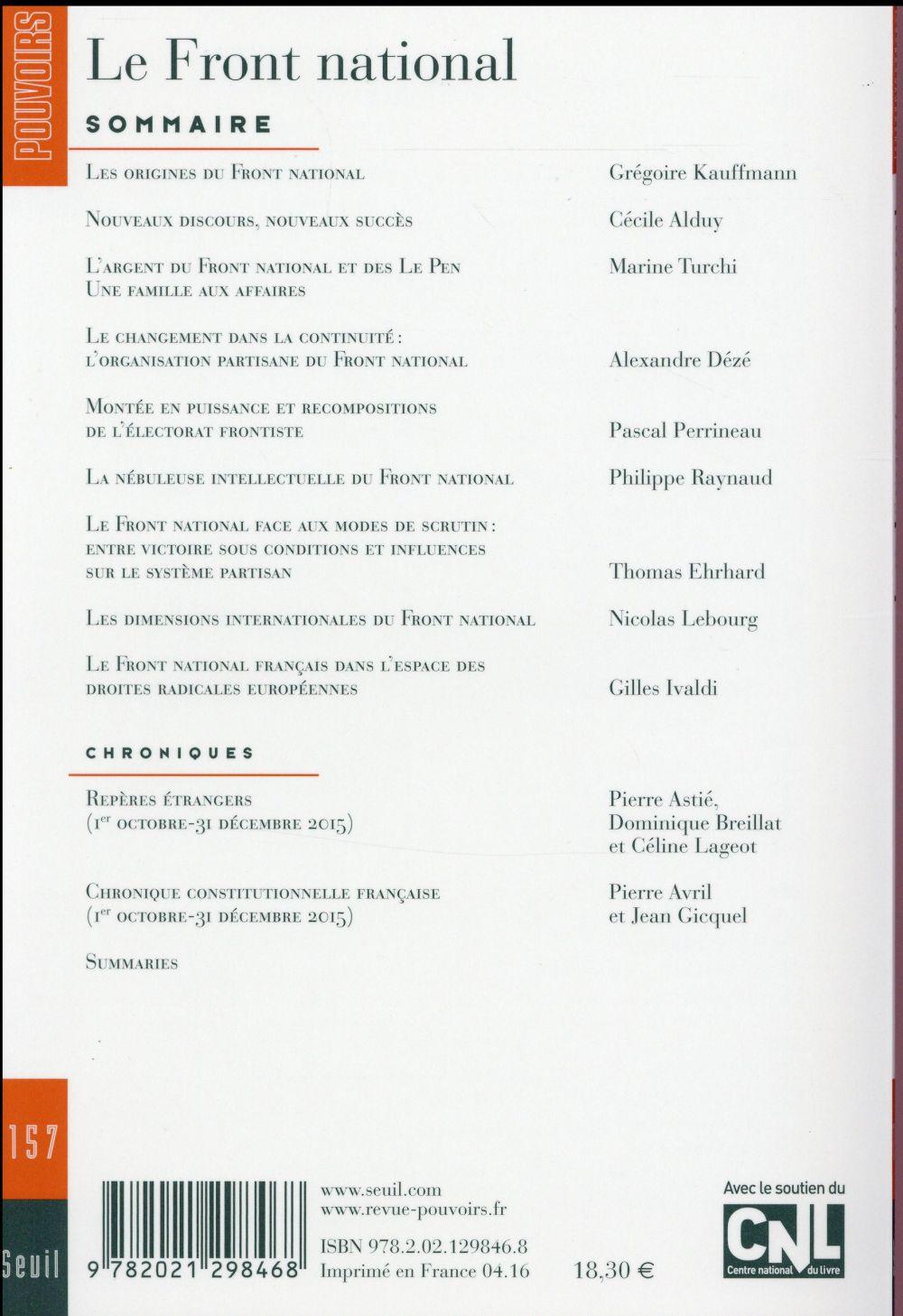 REVUE POUVOIRS n.157 ; le Front national