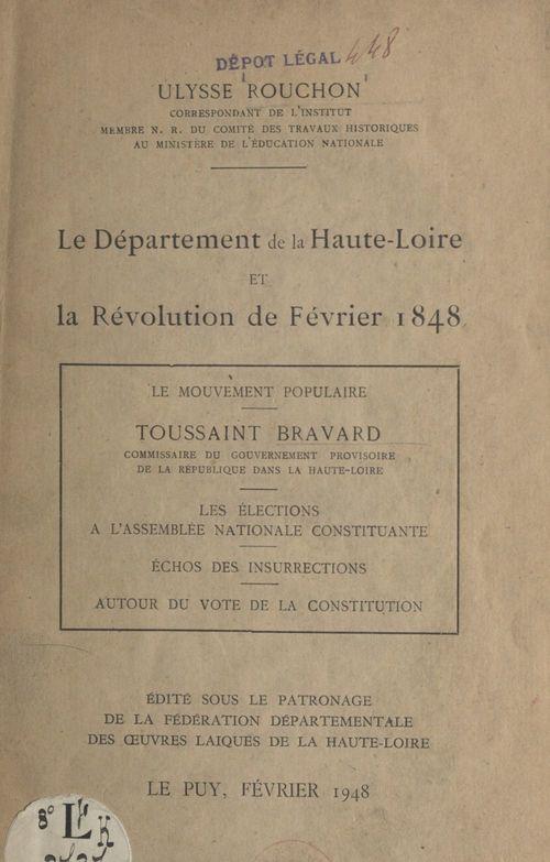 Le département de la Haute-Loire et la Révolution de février 1848
