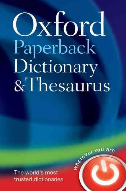 English paperback dictionary and thesaurus