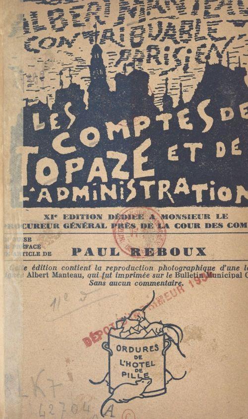 Les comptes de Topaze et de l'administration  - Albert Manteau
