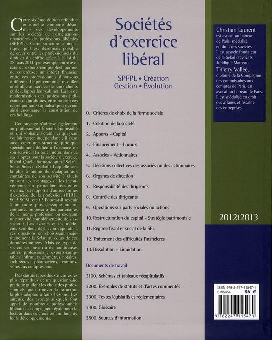 Sociétés d'exercice libéral - SEL (édition 2012/2013)