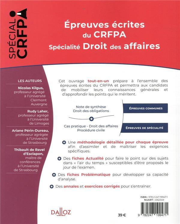 épreuves écrites du CRFPA ; spécialité droit des affaires