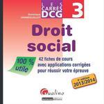 Vente Livre Numérique : Les Carrés DCG 3 - Droit social 2013-2014 - 4e édition  - Dominique Grandguillot