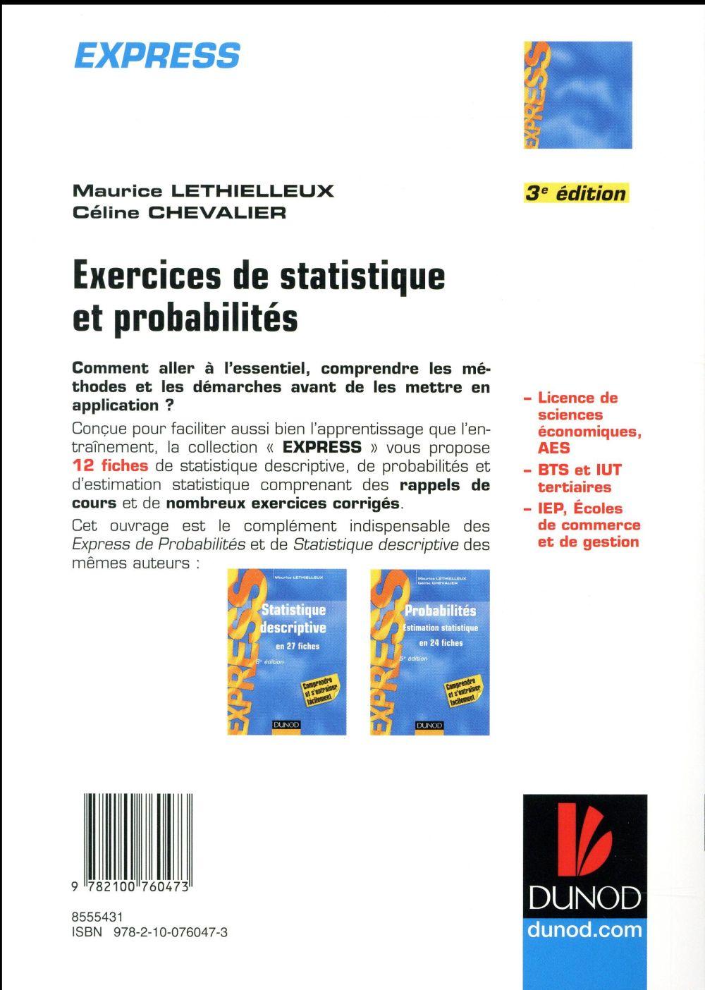 Exercices de statistique et probabilités ; avec rappels de cours ; en 12 fiches (3e édition)