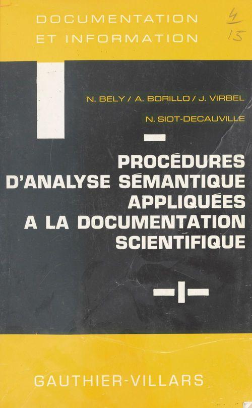 Procédures d'analyse sémantique appliquées à la documentation scientifique