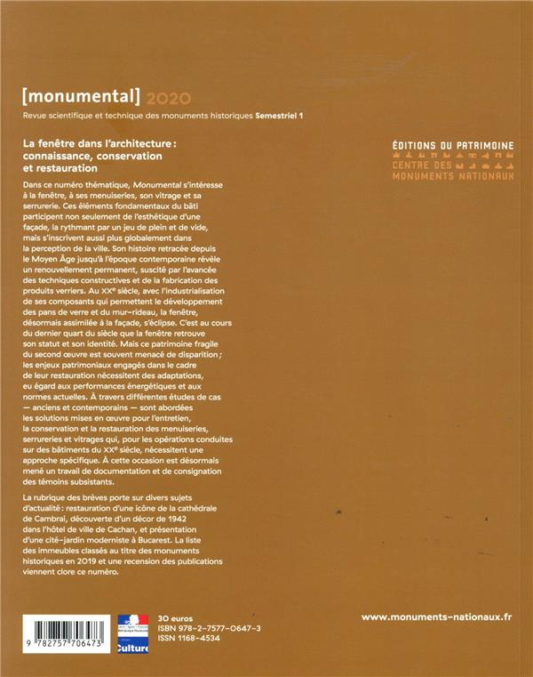 MONUMENTAL n.2020/1 ; la fenêtre dans l'architecture : connaissance, conservation et restauration