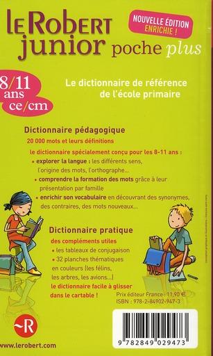 Dictionnaire Le Robert junior poche plus 8/11 ans
