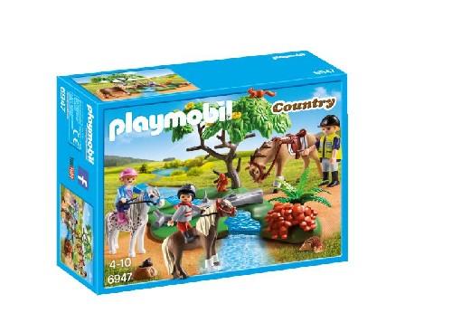 Cavaliers avec poneys et cheval