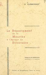 Le département de la Meurthe à l'époque du Directoire