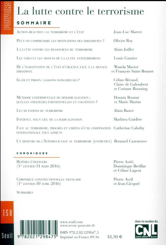 Revue pouvoirs t.158 ; la lutte contre le terrorisme