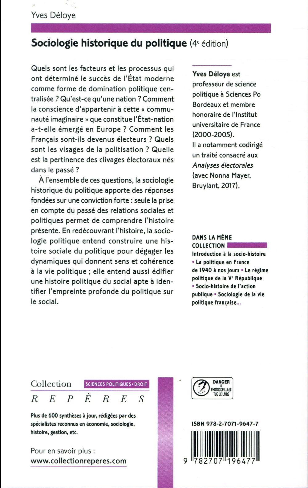 Sociologie historique du politique (4e édition)