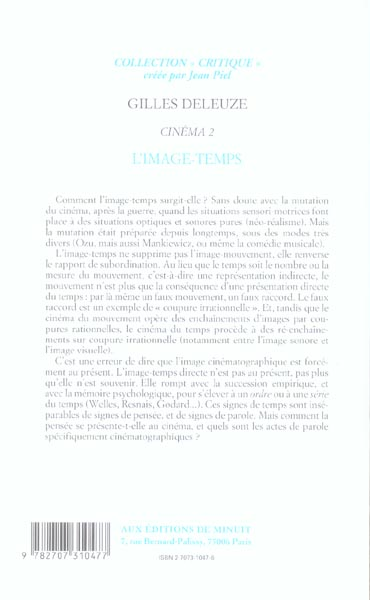 L Image Temps Gilles Deleuze Minuit Grand Format Le Hall Du Livre Nancy