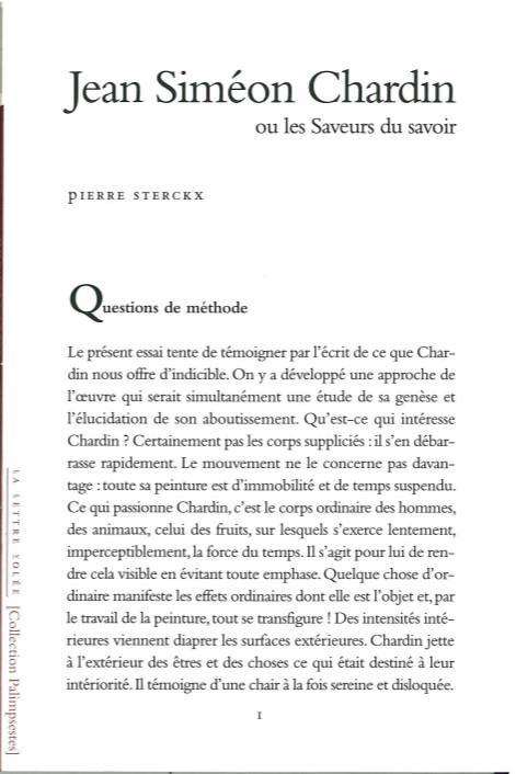 Jean Siméon Chardin ou la saveur du savoir