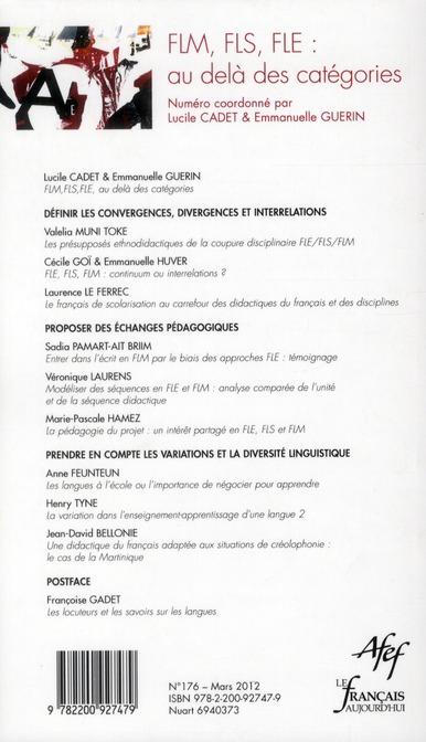 Revue le francais d'aujourd'hui n.176