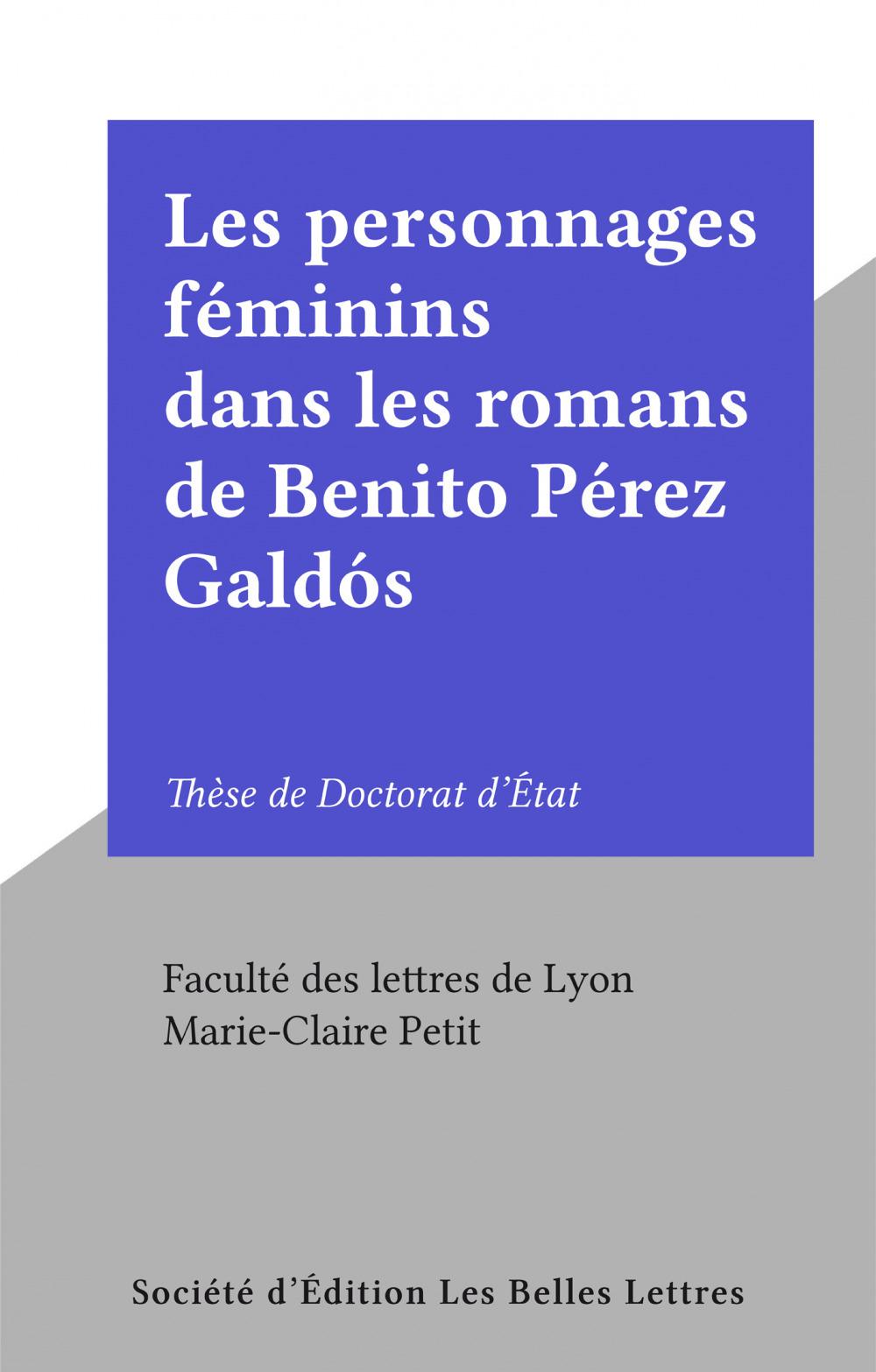 Les personnages féminins dans les romans de Benito Pérez Galdós