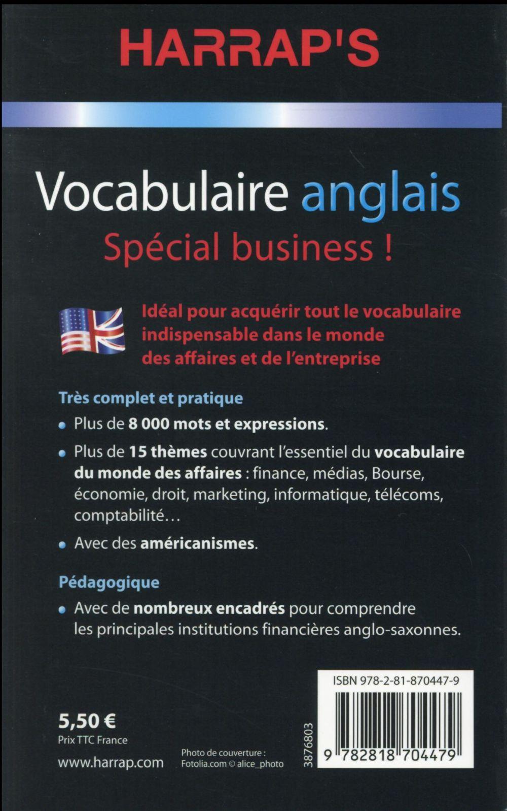 Vocabulaire anglais ; spécial business