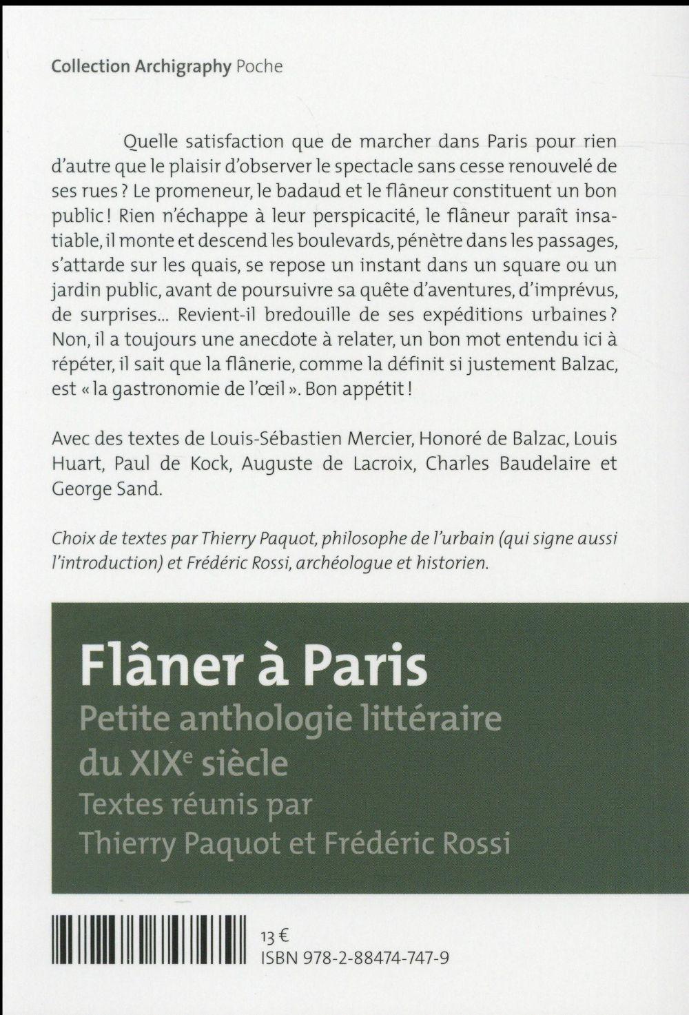 Flâner à Paris ; petite anthologie littéraire du XIXe siècle